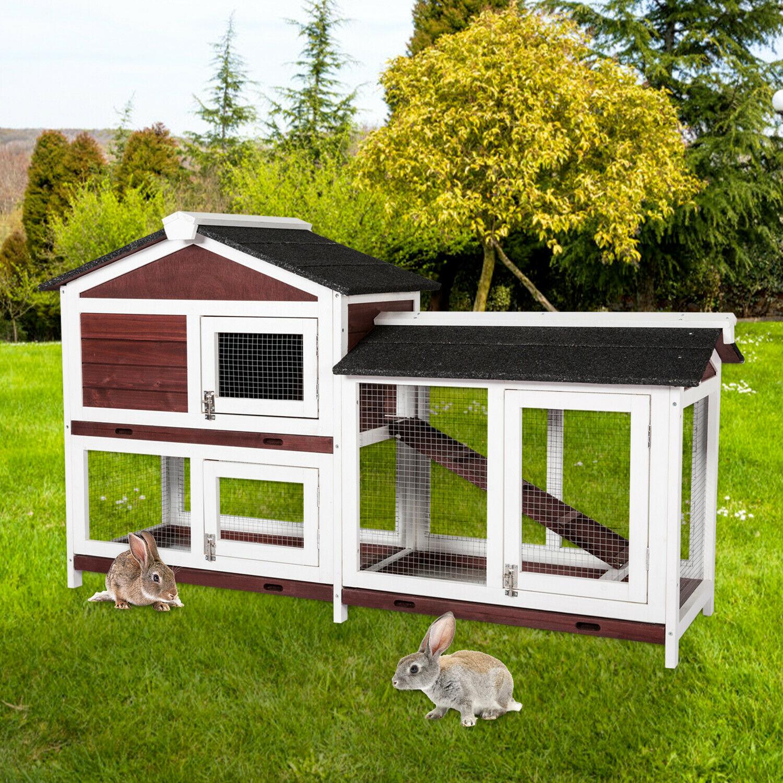 Large Wooden Rabbit Hutch Chicken Coop House Bunny Hen Pet ...